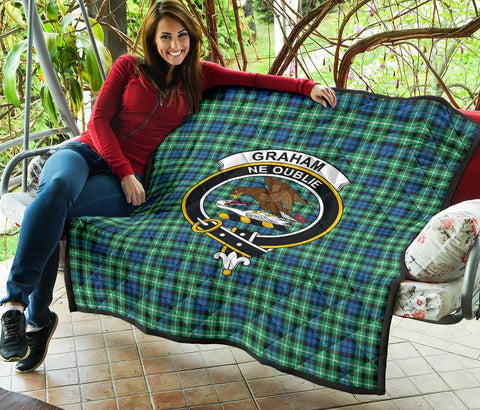 Image of Graham of Montrose Ancient Tartan Clan Badge Premium Quilt | 1sttheworld.com