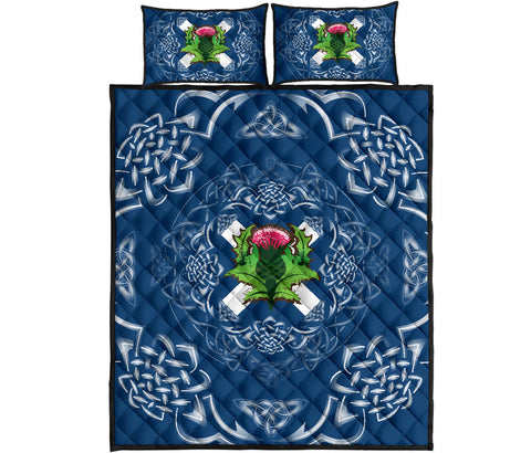 Image of Scotland Quilt Bed Set - Saltire Thistle | 1sttheworld
