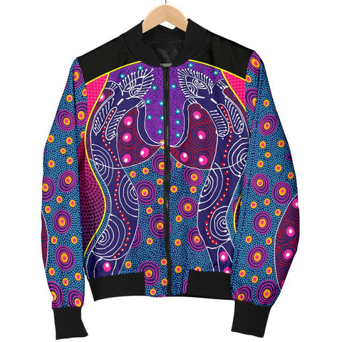 Australia Men's Bomber Jacket - Aboriginal Sublimation Dot Pattern Style (Violet)