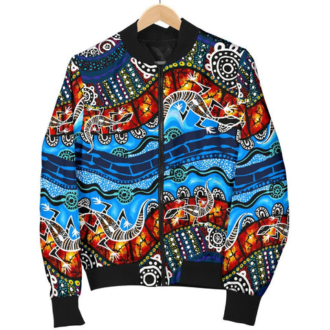 Australia Women Bomber Jacket, Aboriginal Lizard Dot Painting Blue Wave