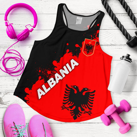 Image of Albania Women Racerback Tank Red Braved Version K12