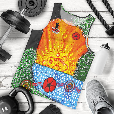 Aboriginal Australian Anzac Day Men Tank Top - Lest We Forget Poppy 5