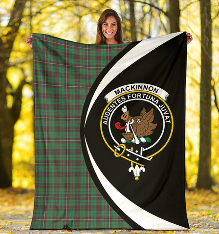 MacKinnon Hunting Ancient Tartan Clan Crest Premium Blanket Hj4