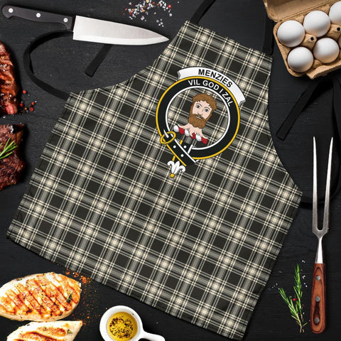 Image of Menzies Black & White Ancient Tartan Clan Crest Apron HJ4