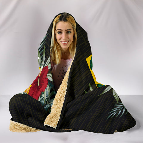 Tuvalu Hibiscus Hooded Blanket A7