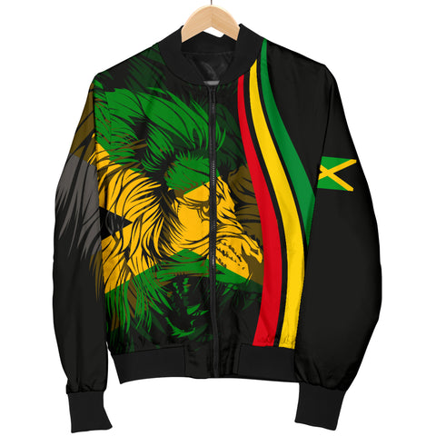 Image of 1stTheWorld Jamaica Flag Rasta Lion Men's Bomber Jacket - Ten Style - J6