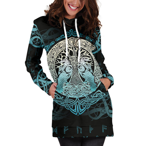 Image of Viking Hoodie Dress Yggdrasil and Ravens A7