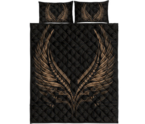 Image of New Zealand Quilt Bed Set Aotearoa - Maori Fern Tattoo A7