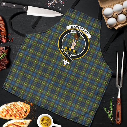Image of MacLellan Ancient Tartan Clan Crest Apron HJ4