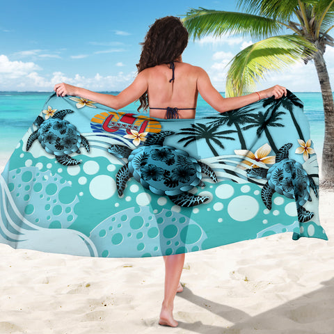Image of Tahiti Sarong - Blue Turtle Hibiscus A24
