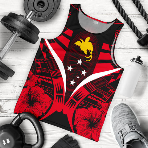 Papua New Guinea Tattoo Men Tank Top Hibiscus - Red Color 5