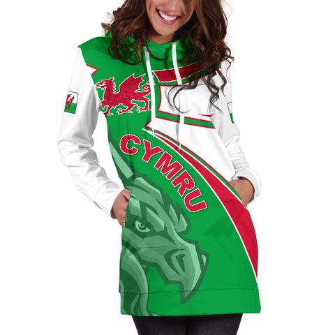 1stTheWorld Wales Hoodie Dress, Wales Round Dragon Red A10