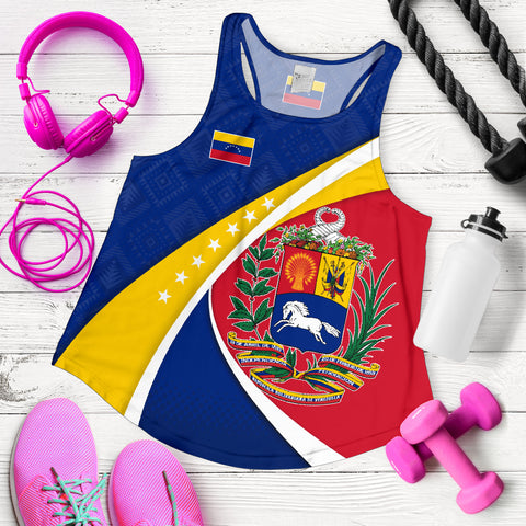 Image of 1stTheWorld Venezuela Racerback Tank, Venezuela Coat Of Arms Pattern Women  A10