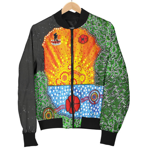 Image of Aboriginal Australian Anzac Day Women Bomber Jacket - Lest We Forget Poppy 5