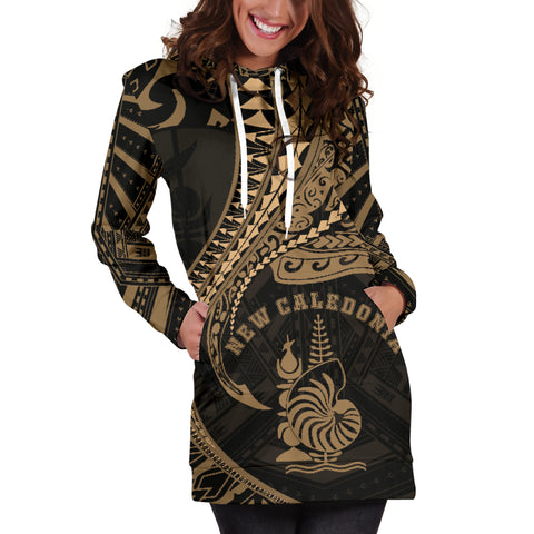 Image of New Caledonia Women's Hoodie Dress Kanaloa Tatau Gen NC (Gold) TH65