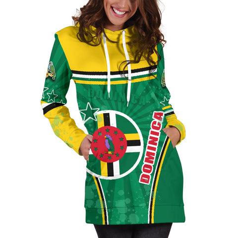Dominica Women Hoodie Dress Circle Stripes Flag Version K13