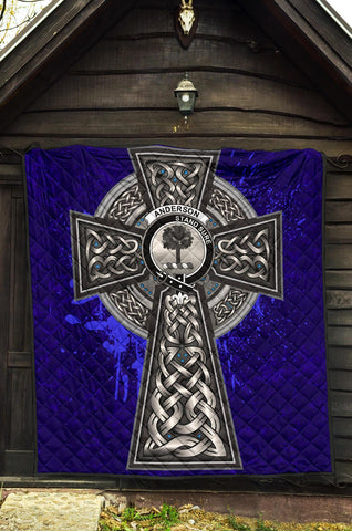 Image of Anderson Crest Scottish Celtic Cross Scotland Quilt A7