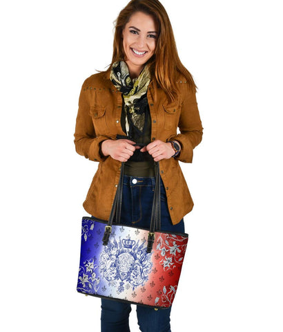 "France Small Leather Tote - Iris Flowers ""Les Francais"" Flag"