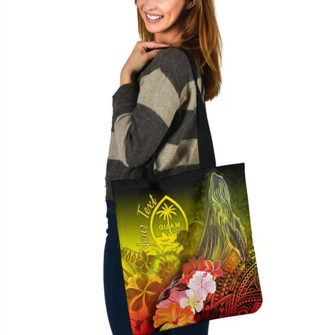 Guam Custom Personalised Tote Bags - Humpback Whale with Tropical Flowers (Yellow)