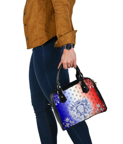 "Image of France Shoulder Handbag - Iris Flowers ""Les Francais"" Flag"