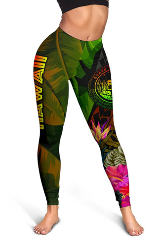 Image of Polynesian Hawaii Polynesian Women's Leggings -  Hibiscus and Banana Leaves