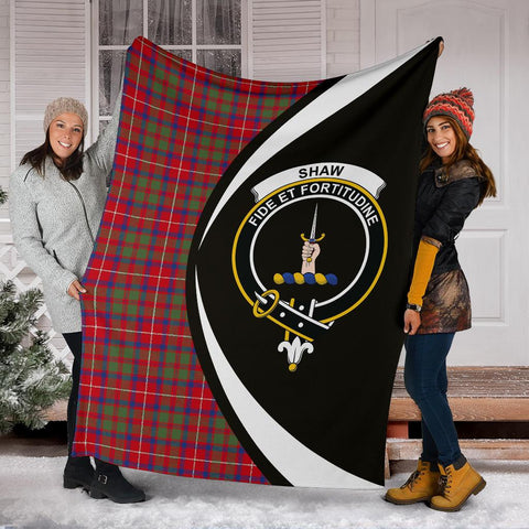 Image of Shaw Red Modern Tartan Clan Crest Premium Blanket Circle Hj4