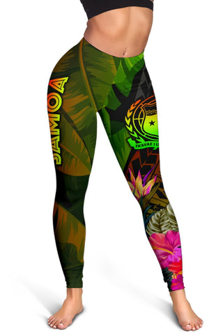 Image of Samoa Polynesian Women's Leggings -  Hibiscus and Banana Leaves