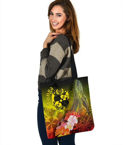 Tonga Tote Bags - Humpback Whale with Tropical Flowers (Yellow)