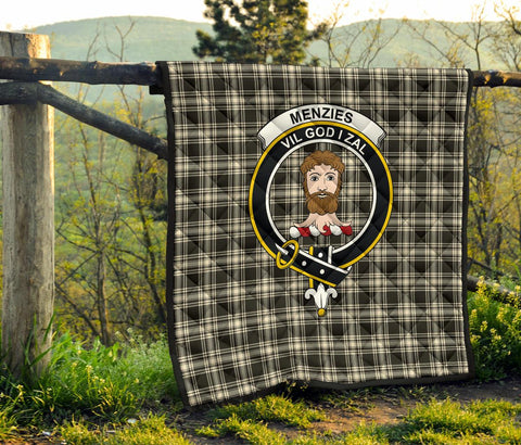 Menzies Black & White Ancient Tartan Clan Badge Premium Quilt | 1sttheworld.com