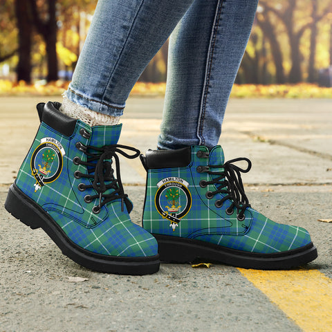 Hamilton Hunting Ancient Tartan Clan Crest All-Season Boots HJ4