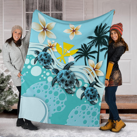 Hawaii Premium Blanket - Blue Turtle Hibiscus A24