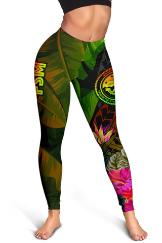Image of Federated States of Micronesia Polynesian Leggings -  Hibiscus and Banana Leaves