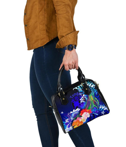 Tonga Shoulder Handbag - Humpback Whale with Tropical Flowers (Blue)