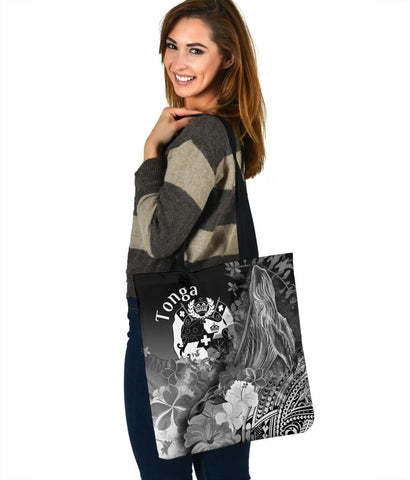 Tonga Tote Bags - Humpback Whale with Tropical Flowers (White)