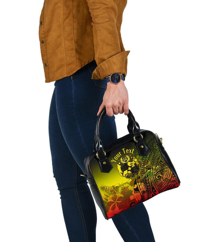 Image of Tonga Custom Personalised Shoulder Handbag - Humpback Whale with Tropical Flowers (Yellow)