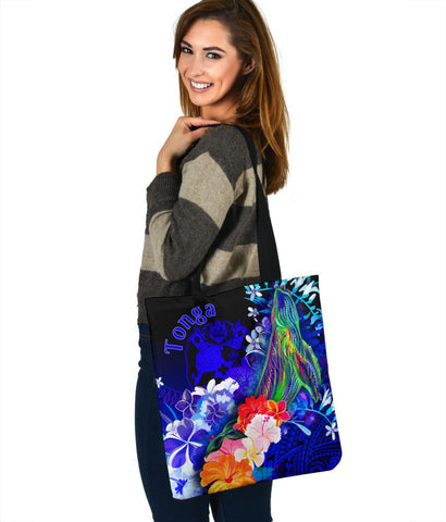 Tonga Tote Bags - Humpback Whale with Tropical Flowers (Blue)