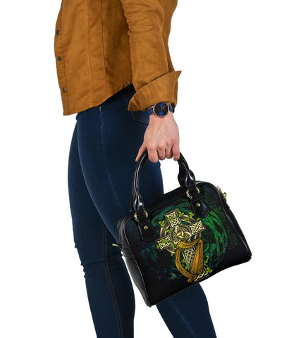 Ireland Celtic Shoulder Handbag  - Ireland Coat Of Arms with Celtic Cross - BN18