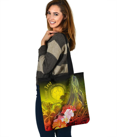 CNMI Custom Personalised Tote Bags - Humpback Whale with Tropical Flowers (Yellow)