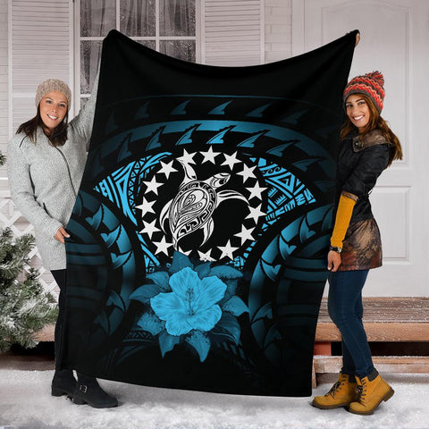 Image of Cook Islands Premium Blanket - Turquoise Hibiscus A02