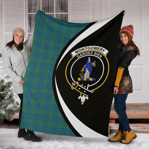 Image of Montgomery Ancient Tartan Clan Crest Premium Blanket Circle Hj4
