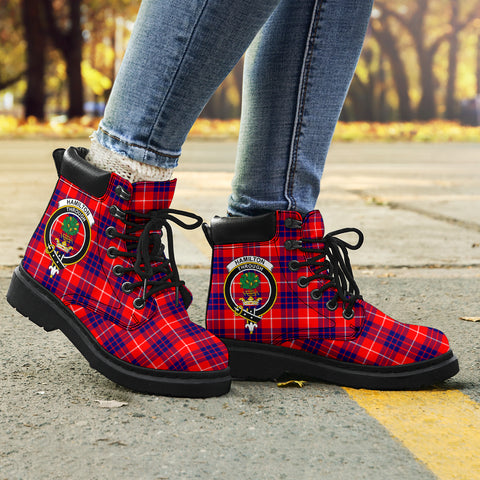 Image of Hamilton Modern Tartan Clan Crest All-Season Boots HJ4