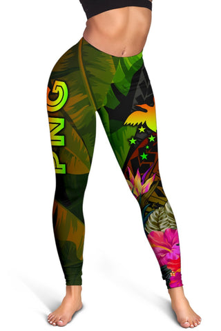 Papua New Guinea Polynesian Women's Leggings -  Hibiscus and Banana Leaves