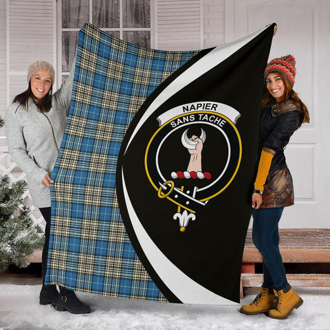 Napier Ancient Tartan Clan Crest Premium Blanket Circle Hj4