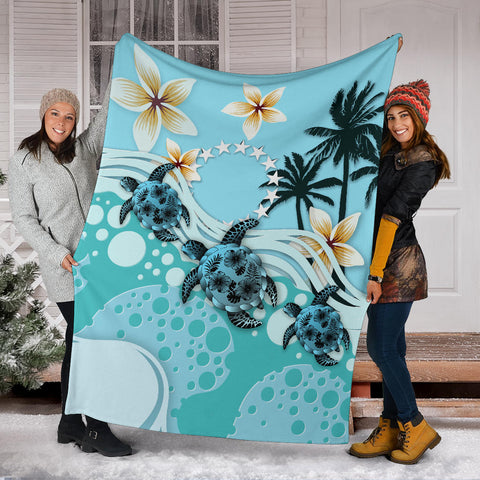 Image of Cook Islands Premium Blanket - Blue Turtle Hibiscus A24