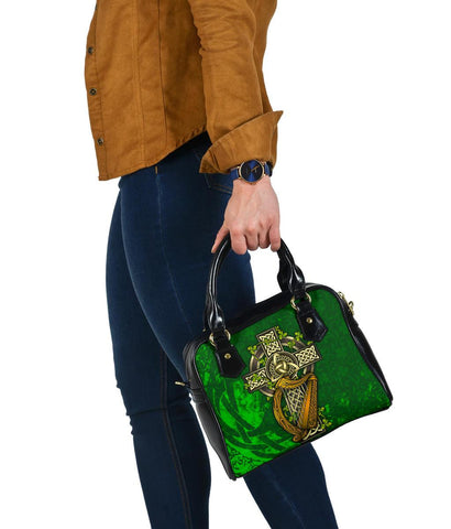 Ireland Celtic Shoulder Handbag  - Ireland Coat Of Arms with Shamrock Patterns - BN18