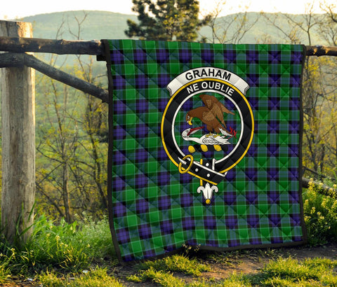 Graham of Menteith Modern Tartan Clan Badge Premium Quilt | 1sttheworld.com