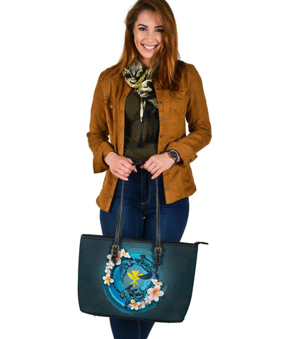 Image of Kanaka Maoli (Hawaiian) Leather Tote  - Blue Plumeria Animal Tattoo A24