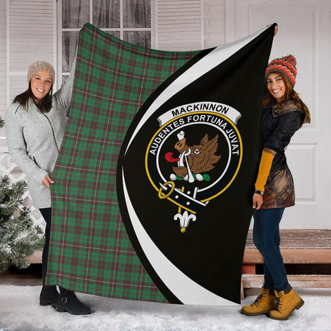 Image of MacKinnon Hunting Ancient Tartan Clan Crest Premium Blanket Hj4