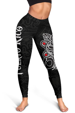 Image of Puerto Rico Taino Sun Coqui Frog Tribal Leggings A15