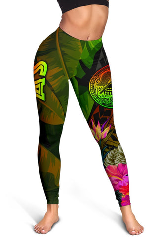 Image of American Samoa Polynesian Women's Leggings -  Hibiscus and Banana Leaves